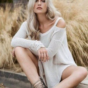 FREE PEOPLE Cold Shoulder Waffle Knit Sweater S